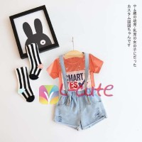 Setelan Overall Pants Plus Tshirt Orange / Baju Anak Impor L-cute