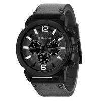 POLICE MENS CONCEPT BLACK LEATHER STRAP BLACK 14377JSB/02A
