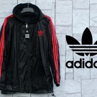 Jaket Parasut Adidas Hitam List Merah (Hoodie/jumper/Sweater/Black)