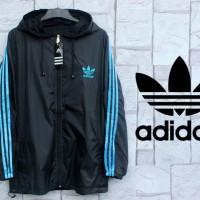 Jaket Parasut Adidas Hitam List Biru (Hoodie/jumper/Sweater/Black)
