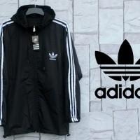 Jaket Parasut Adidas Hitam List Putih (Hoodie/jumper/Sweater/Black)
