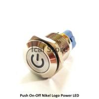 Saklar Push On Off Nikel Logo Power Lampu Stainless ulir 16 mm