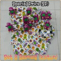Set Car/Sarung Jok/Bantal Mobil Boneka Barney/Ungu 8 in 1