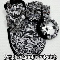 Set Car/Sarung Jok/Bantal Mobil Boneka Bear/Zebra Hitam Putih 8 in 1