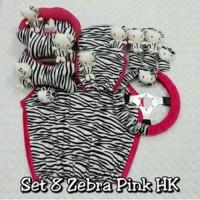 Set Car/Sarung Jok/Bantal Mobil Boneka Kitty/Zebra/Hitam/Pink 8 in 1