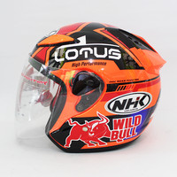 Helm NHK Seri Lotus Half Face Orange Motif Wild Bull Fluo Single Visor