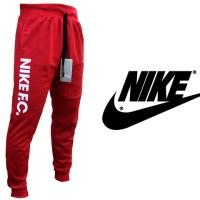 Celana Jogger Panjang Nike FC Merah Teks Putih (Training/Olahraga)