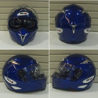 Helm GM Airborne Blue Deep Solid Fullface Full Visor Biru Polos