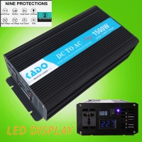Power Inverter 1500W Pure Sine Wave 12V DC to 220V AC