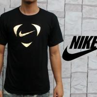 Kaos Oblong Nike Air Black Gold Teteron Cotton 30s (T-shirt) Hitam