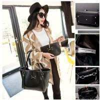 TERMURAH   TAS Zara import + dompet pouch hitam F2446