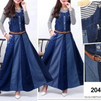 Overall jeans stripe jumpsuit hijabers with inner werpak hijab jumper