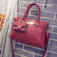 TERMURAH   TAS import wanita motif anyam + dompet pouch F289991