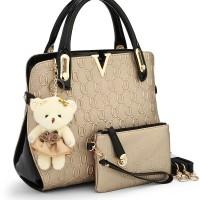 TERMURAH   TAS wanita import + dompet pouch gantungan boneka BC370