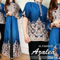 couple gamis batik biru terang