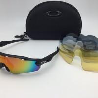 kacamata sport sepeda oaklay radar EV 5 lensa black ducati full set