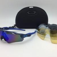kacamata sport sepeda oaklay radar EV 5 lensa polarized black blue
