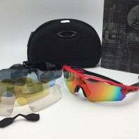 kacamata sport sepeda oaklay radar EV 5 lensa polarized red full set