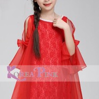 DRESS ANAK PEREMPUAN : KOREA PINK RED DRESS SIFON N BROKAT#5