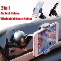2in1 360 Rotating Universal Phone Holder Car Air Vent Mount AC Mobil