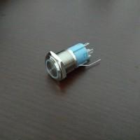 stainless push on off led 2 warna switch self locking latching saklar