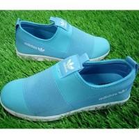 sepatu adidas slip on hamburg cewek woman biru import vietnam 37-40