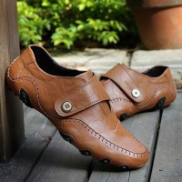 PINSV Men Genuine Leather Formal Shoes Casual Business Shoes ff08Brown