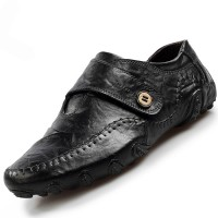 PINSV Men Genuine Leather Formal Shoes Casual Business Shoes ff08Black