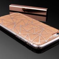 iPhone 6/6s Plus Diamond Grid Glitter TPU soft+Hard PC Back Case Gold