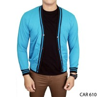 Cardigan Fleece Basic Polos Panjang Pria Fleece Biru Muda CAR 610