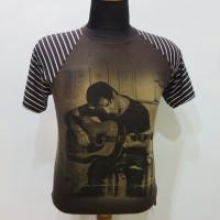Kaos Tshirt Pria Main gitar Coklat