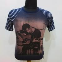 Kaos Tshirt Pria Main gitar Biru