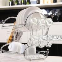 Rak piring tempat gelas 2susun stainless ukuran lebih besar 43x25x39cm