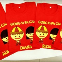 Paket Kaos Sincia/Kaos Imlek Keluarga Ayah Ibu Anak warna merah