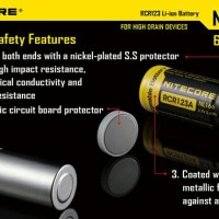 original Battery NITECORE RCR123A Rechargeable Li-ion 650mAh 3.7 2017<