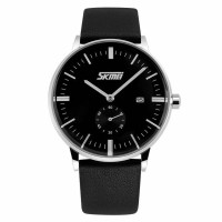 2017 stock SKMEI Casual Men Leather Strap Watch Water Resistant 30 ke<