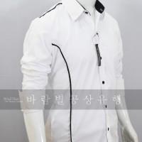 TWIZEL WHite - Baju Kemeja Pria Slimfit Pesta Casual Korea