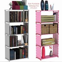 Rak Portable Serbaguna 4 susun Buku dapur cabinet cloth rack baju Book