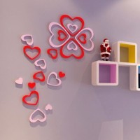 3D Wall Sticker Model HEART bahan kayu ringan
