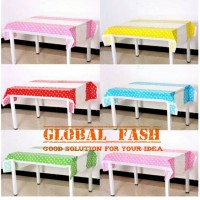 taplak meja pesta / table cover motif polkadot / plastik table cover