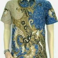 Kemeja hem batik pria katulistiwa biru laut