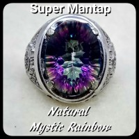 CINCIN BATU AKIK PERMATA NATURAL MYSTIC RAINBOW QUARTZ RING ALPAKA