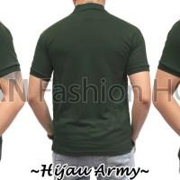 POLO 4 Kaos Baju Pria Cowok Kerah Pendek Polos Hijau Army Lacos