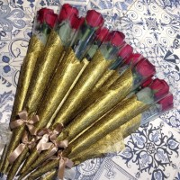 A Single Roses Bouquet - Setangkai Bunga Mawar Hias Plastik