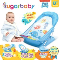 SUGAR BABY DELUXE BABY BATHER - WOLLY WHALE BLUE