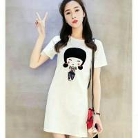 DRESS MINI KOREA GIRL WHITE DRM : 0004