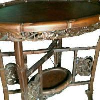 Coffee Table Folding, Kayu-Tiger Wood, 2-tingkat, Langka. Cicil 0%