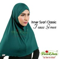 Razha Inner Syar'i Classic Tosca Green Daleman Jilbab Hijau Toska
