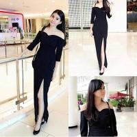 maxi dress scuba hitam sabrina