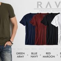 Baju Kaos Pria Henley Oblong Original by RAVA (PROMO BEST SELLER) - Putih